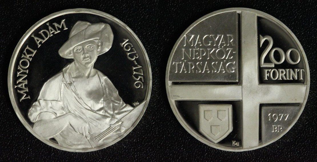 200 Forint 1977 Ungarn Manyoki Adam PP*/l.Belag