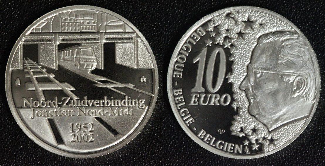 10 Euro 2002 Belgien 50 Jahre Nord-Südverbindung in Brüssel PP*/min.Belag