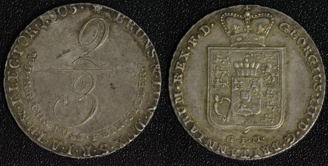 2/3 Taler 1805 Braunschweig-Calenberg-Hannover Georg III. ss-vz/kl.Kr. - attraktive Patina!
