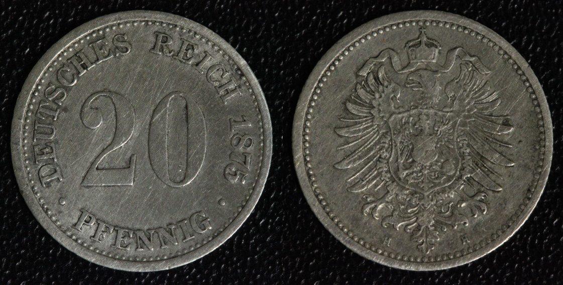 20 Pfennig 1875 H Kaiserreich selten ss/f.Kr.