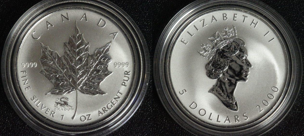 5 Dollars 2000 Canada Jahr des Drachen - Maple Leaf - 1 Unze Silber unc