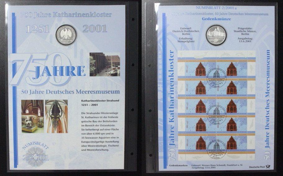 10 Mark 2001 BRD Katharinenkloster Stralsund - Numisblatt st