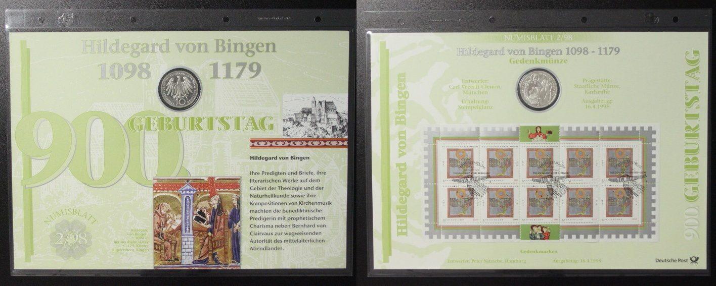 10 Mark 1998 BRD Hildegard v. Bingen - Numisblatt st