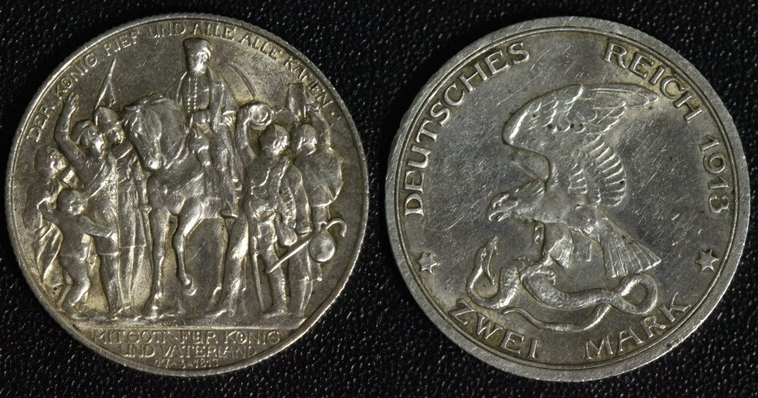 2 Mark 1913 A Preußen Friedrich II. - Befreiungskriege vz+/min.Rf.