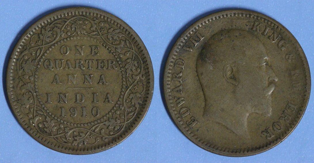 1/4 Anna 1910 Britisch-Indien Edward VII. s-ss