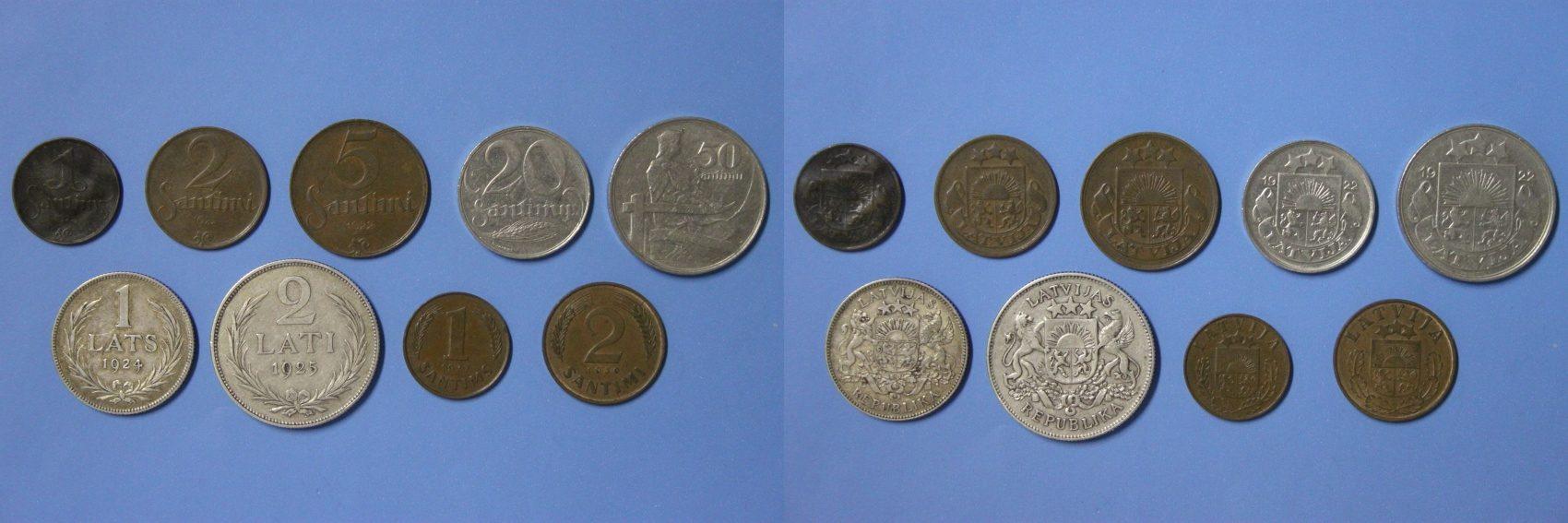 Satz 1 Santims 2 Lats Diverse Lettland 9 Münzen 1 Santims Bis 2