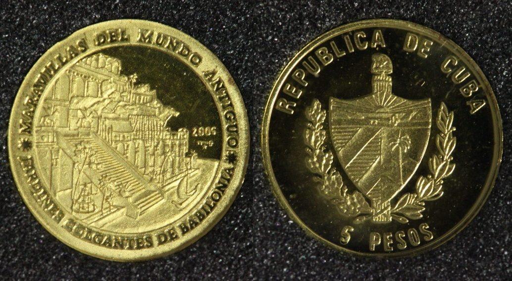 5 Pesos 2005 Kuba Hängende Gärten von Babylon - Serie Die 7 Weltwunder - 1/25 Unze Gold PP*
