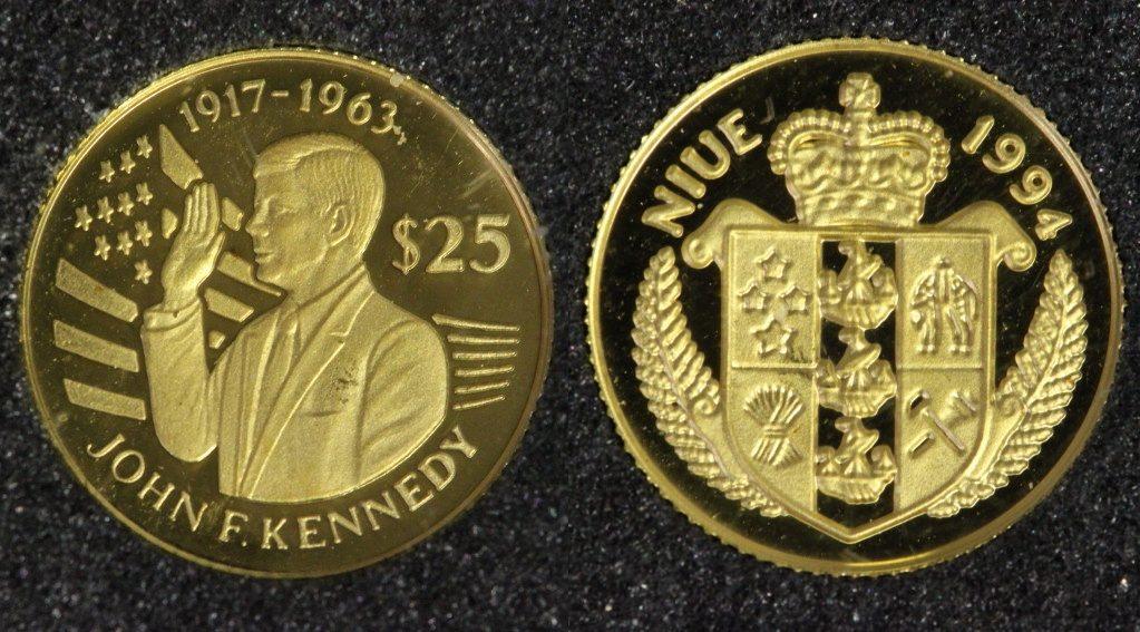 25 Dollars 1994 Niue Kennedy - Vereidigung - Gold PP*