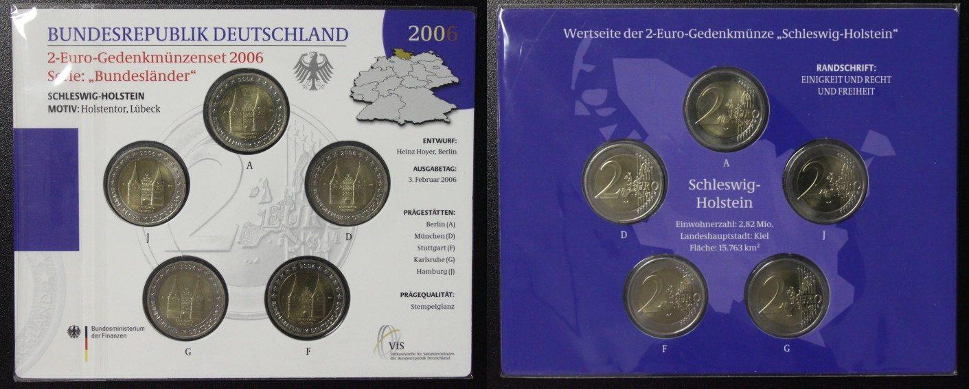 Satz 5x 2 Euro 2006 BRD Schleswig-Holstein, Holstentor - A-J - Gedenkmünzenset st in Blister