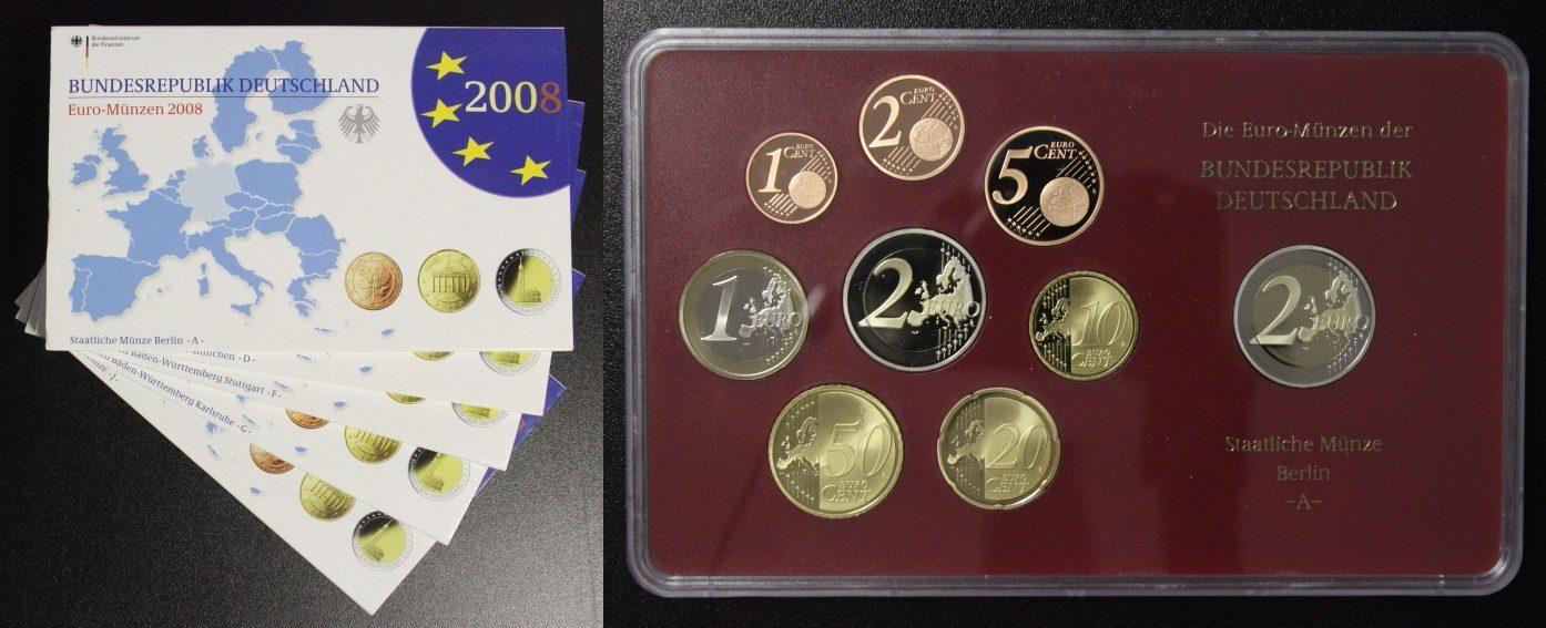 Kms 2008 Deutschland Kursmünzensatz Komplett A J Incl 2 Euro