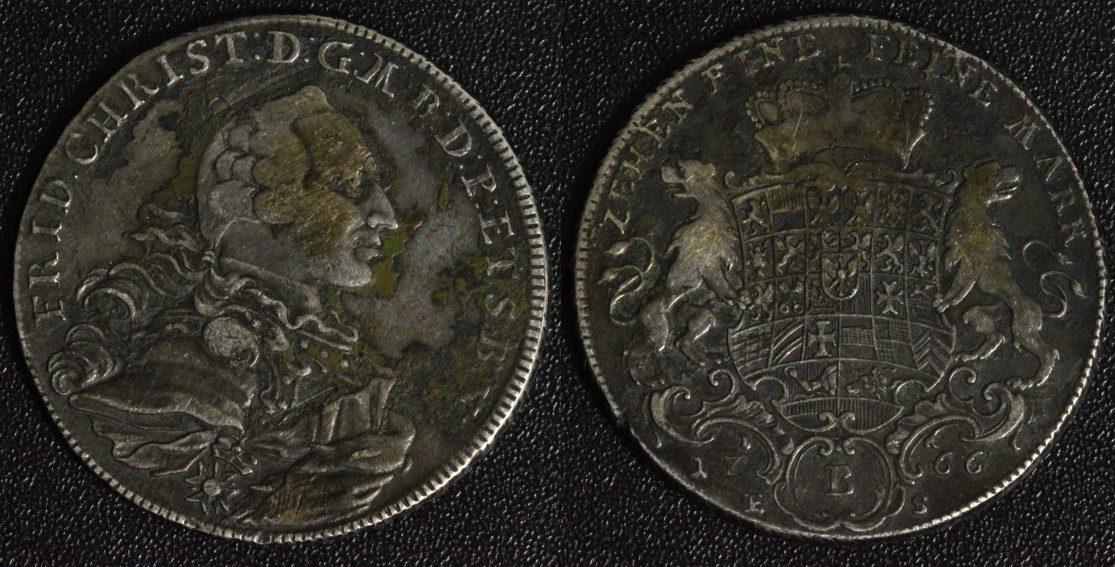 Taler 1766 ES Brandenburg-Bayreuth Friedrich Christian s-ss/ dunkle Patina