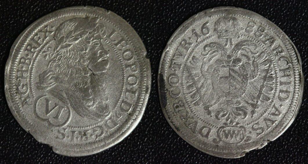 VI Kreuzer 1688 Österreich-Habsburg Leopold I. (1657-88) - Wien s-ss