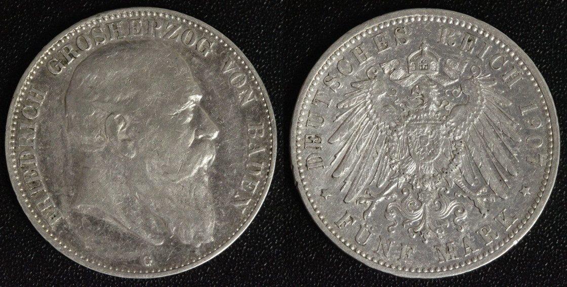 5 Mark 1907 G Baden Friedrich ss/ leicht rauer Schrötling