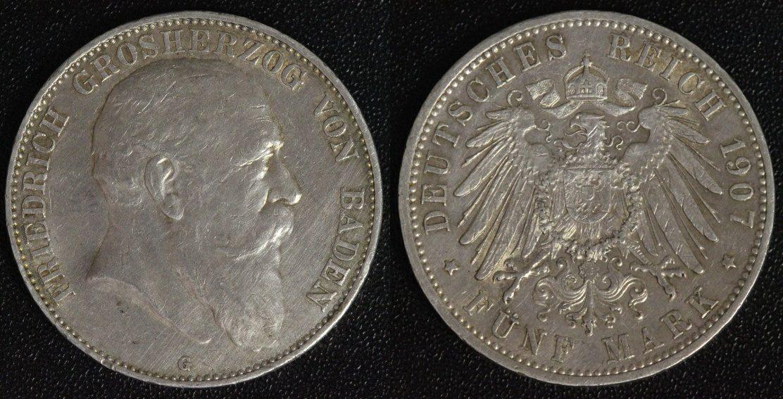 5 Mark 1907 G Baden Friedrich ss/winz.Rf.