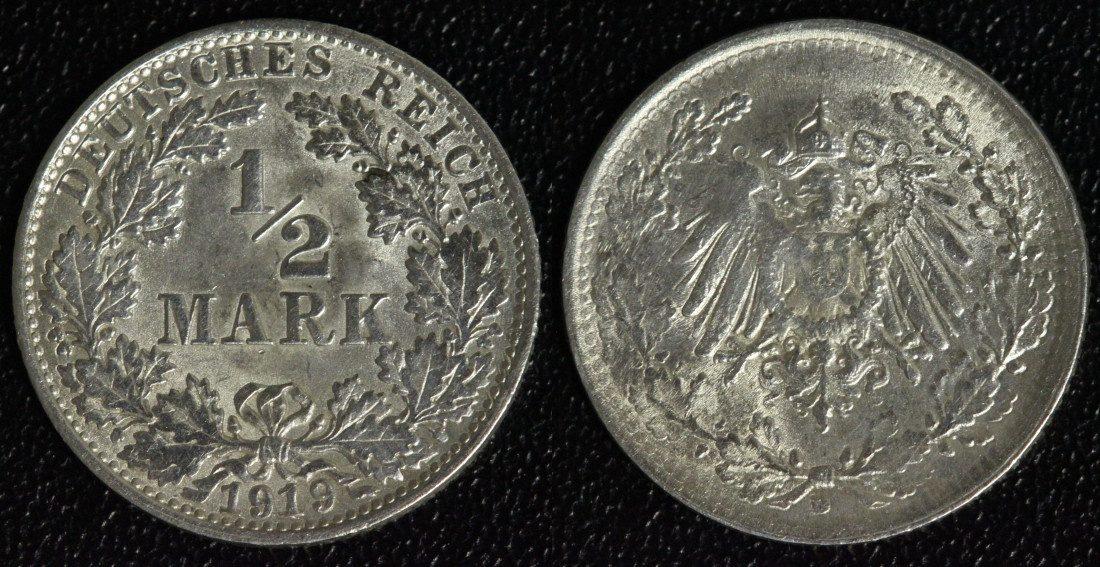 1/2 Mark 1919 D Kaiserreich vz-st/f.Kr./ übliche Prägeschwächen