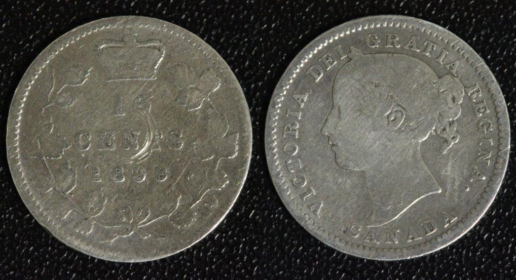 10 Cents 1898 Kanada Victoria - seltenes Jahr s+/Kr.