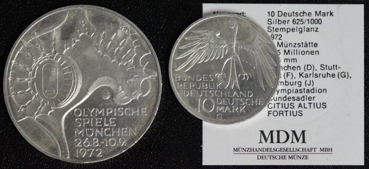 10 Mark 1972 G Brd Olympia München Zeltdach Vz St Mit Münzpass
