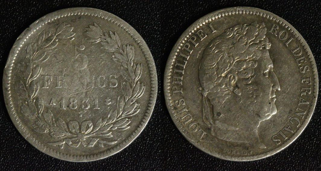 5 Francs 1831 A Frankreich Louis Philippe I. - Paris s-ss/kl.Rf.