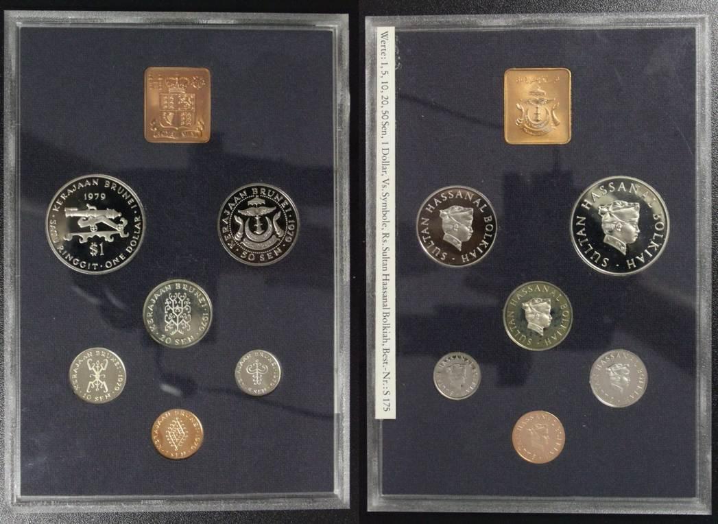 Kursmünzensatz 1979 Brunei KMS - 1 Sen bis 1 Dollar/ Ringgit - selten PP*