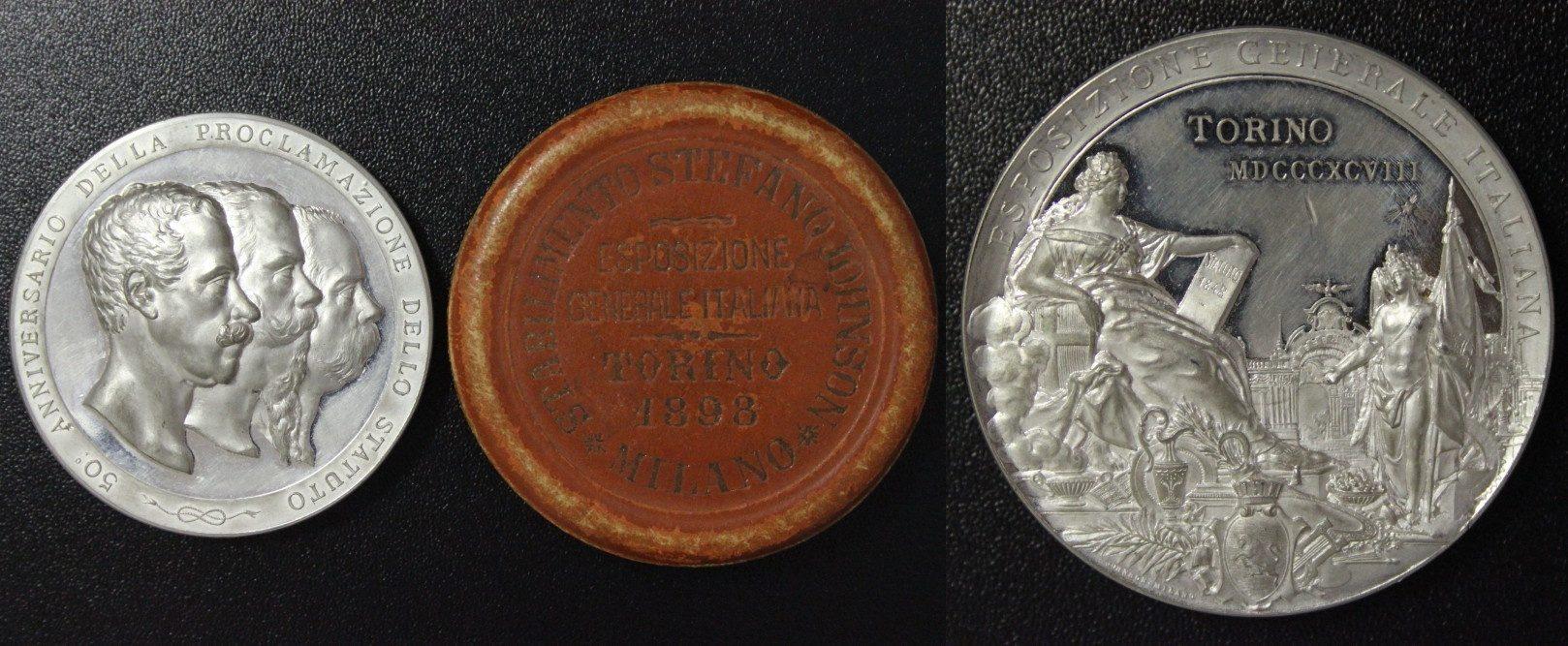Medaille/ incl. Original-Schatulle 1898 Italien - Turin Zur allgem. Italienischen Ausstellung in Turin vz-st/Kr./l.ber.