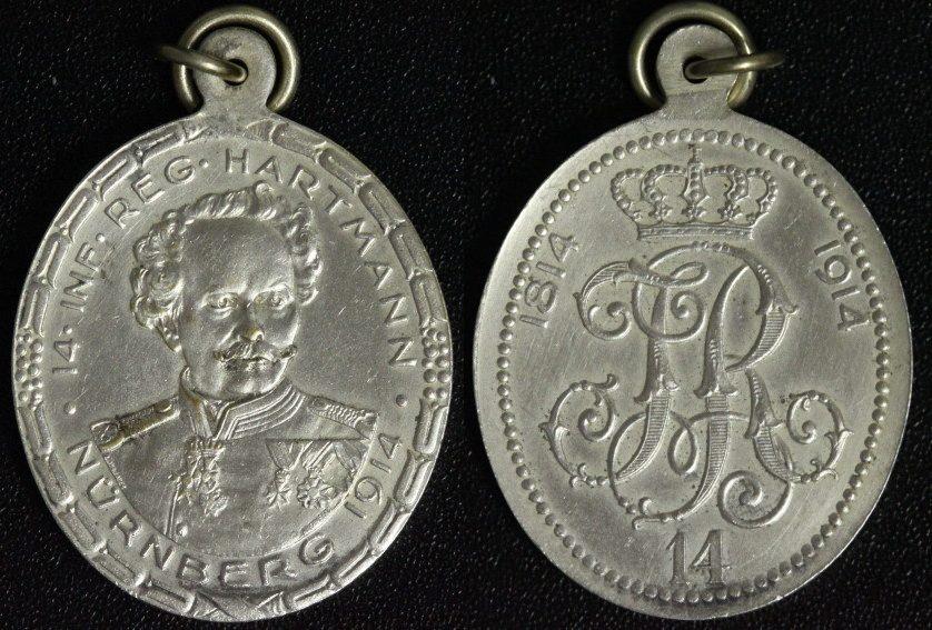 Ovale Medaille 1914 Nürnberg Hartmann - 100-jähriges Regimentsjubiläum f.vz
