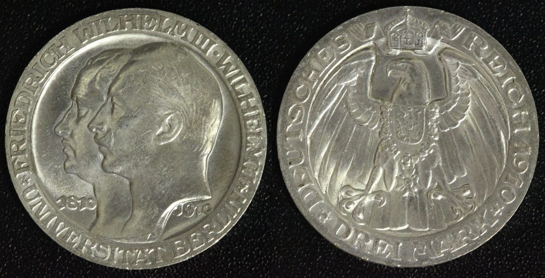 3 Mark 1910 A Preußen Wilhelm II. - Uni Berlin vz-st/ winz.Rf.