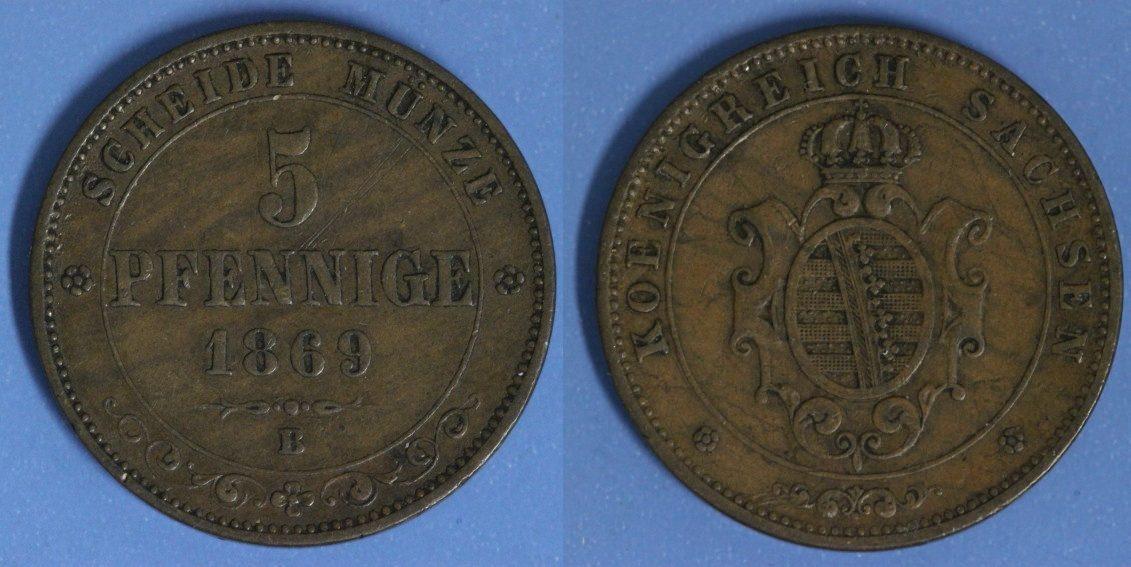 5 Pfennige 1869 B Sachsen ss