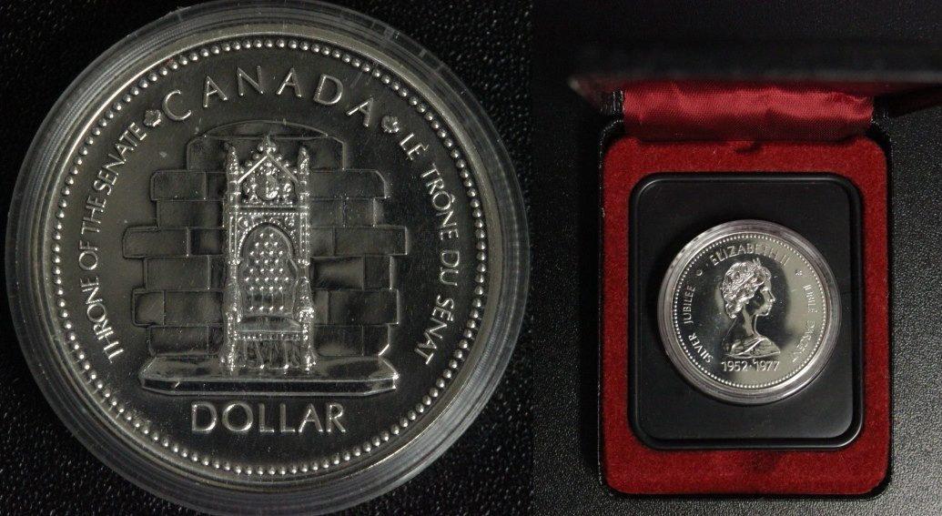 1 Dollar 1977 Kanada 25 Jahre Thronbesteigung PL*/ Etui