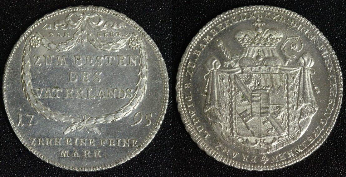 Konventionstaler 1795 Bamberg Franz Ludwig v. Erthal (1779-95) vz-st