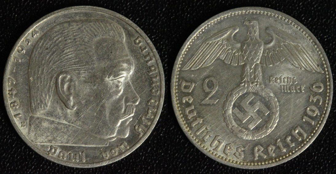 2 Mark 1936 E 3. Reich Hindenburg f.vz