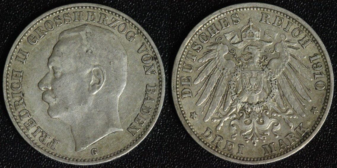 3 Mark 1910 G Baden Friedrich II. ss