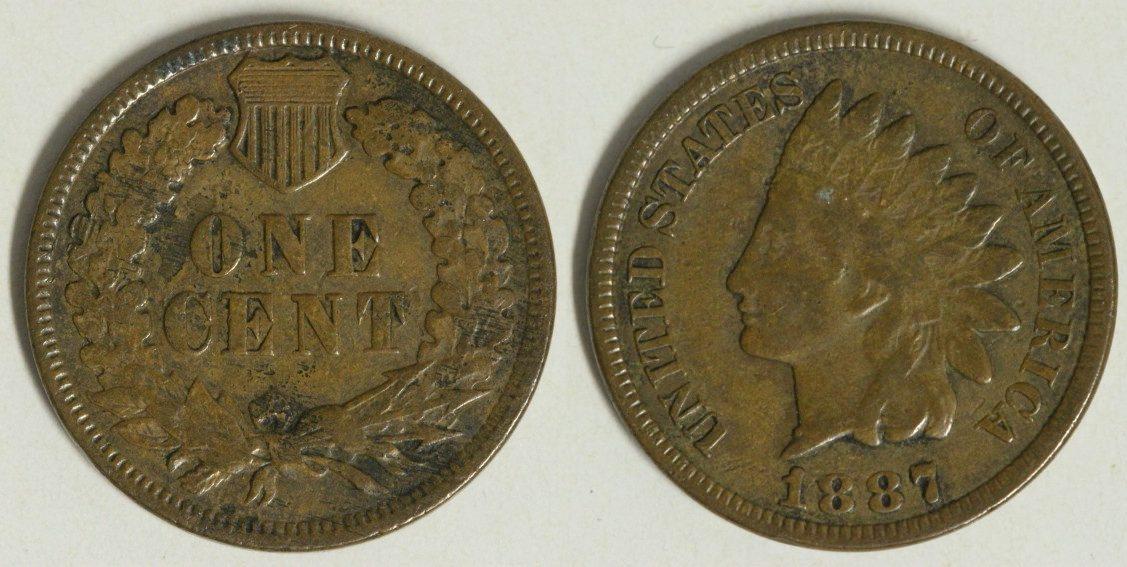 1 Cent 1887 USA Indian Head f.ss