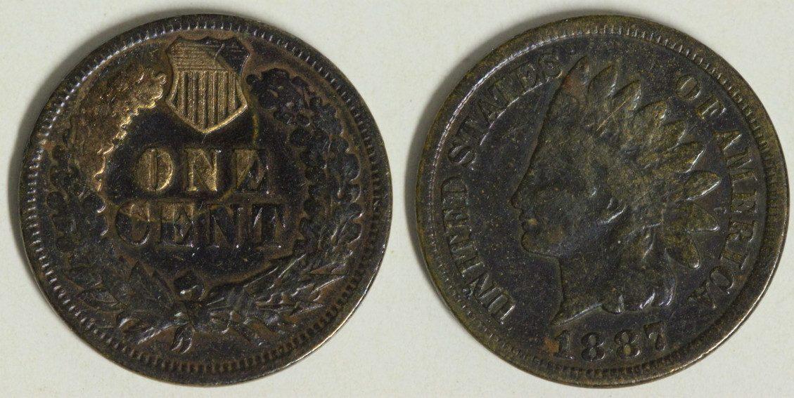 1 Cent 1887 USA Indian Head s-ss/Pat.