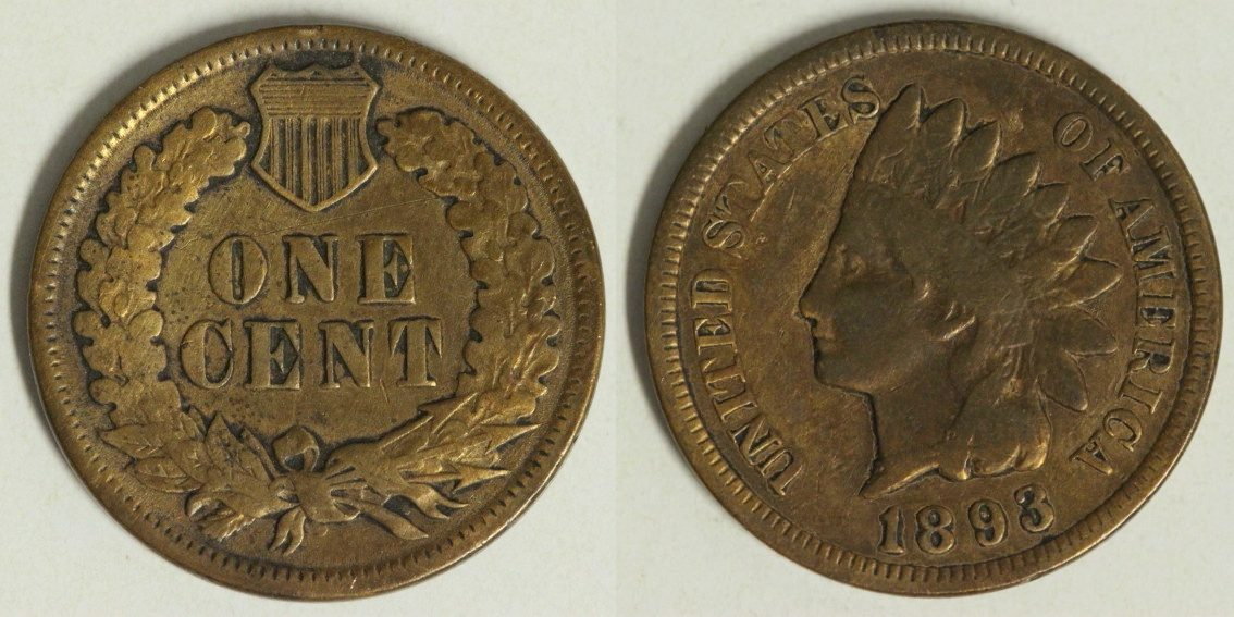 1 Cent 1893 USA Indian Head s-ss