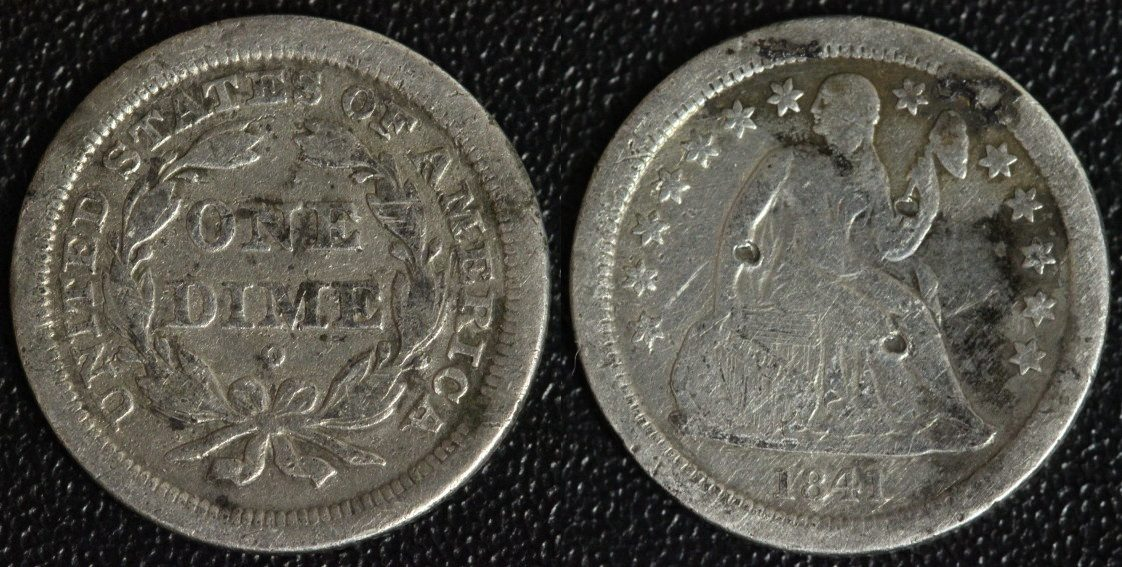 1 Dime 1841 O USA Seated Liberty - New Orleans - selten s-ss/kl.Kr./Srf.!