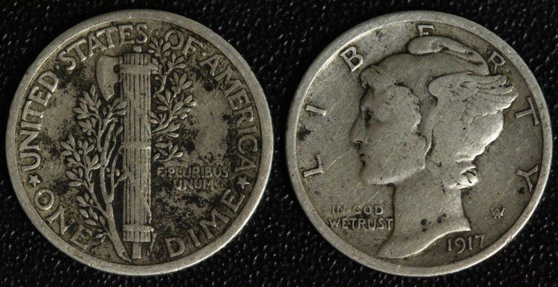 1 Dime 1917 USA Mercury f.ss