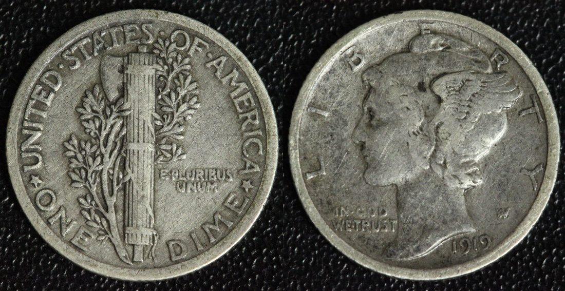 1 Dime 1919 USA Mercury ss/Pat.