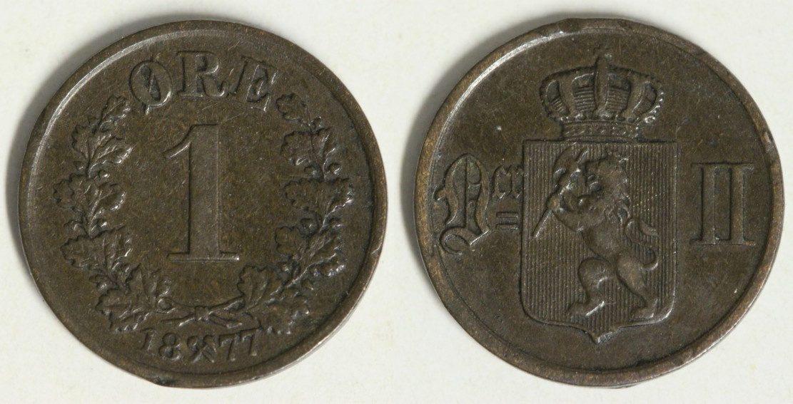 1 Öre 1877 Norwegen Oscar II. - Ore - selten ss/Rf.