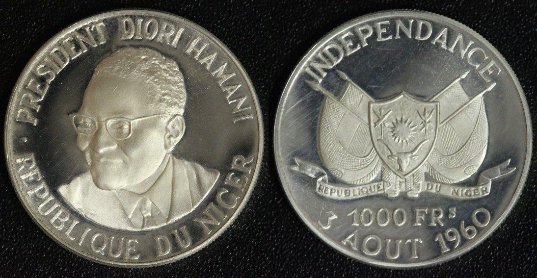 1000 Francs 1960 Niger Auf die Unabhängigkeit - niedrige Auflage PP*/ber.