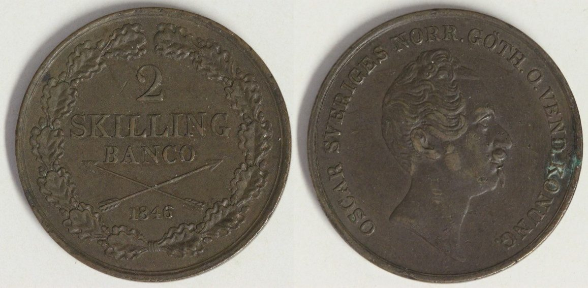 2 Skilling Banco 1846 Schweden Oskar II. - selten ss-vz/l.Rf.
