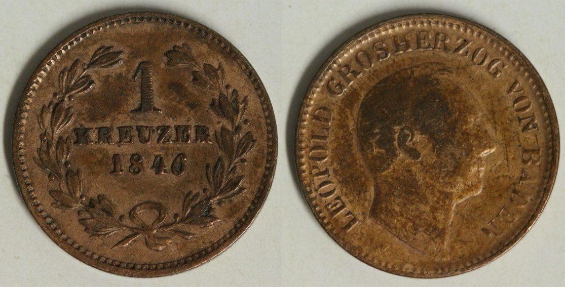 1 Kreuzer 1846 Baden Carl Leopold Friedrich f.ss