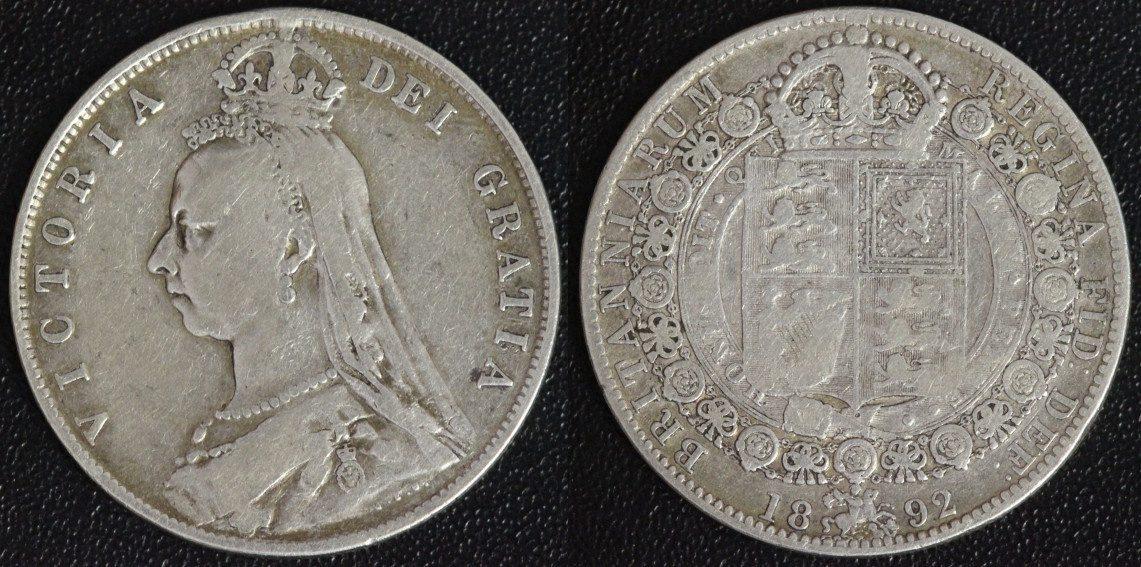 1/2 Crown 1892 Großbritannien Victoria f.ss/min.Rf.