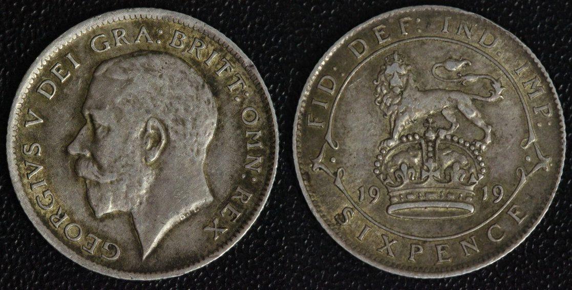 6 Pence 1919 Großbritannien Georg V. ss-vz/ min.Rf.