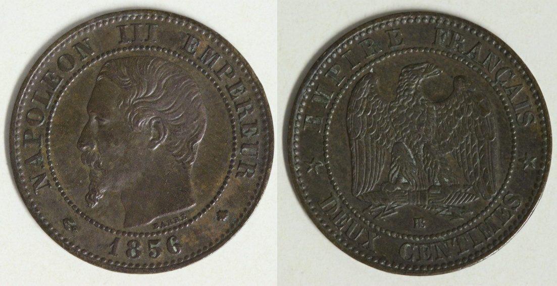 2 Centimes 1856 BB Frankreich Napoleon III. - Straßburg ss-vz
