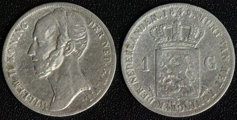 1 Gulden 1849 Niederlande Willem II. - seltener Jahrgang s-ss/min.Rf.