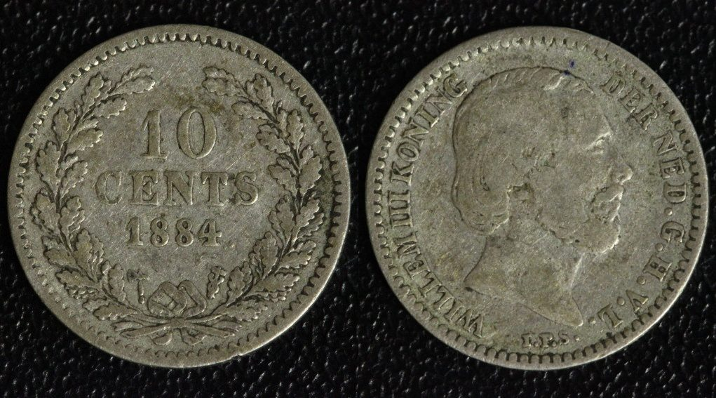 10 Cents 1884 Niederlande Willem III. f.ss