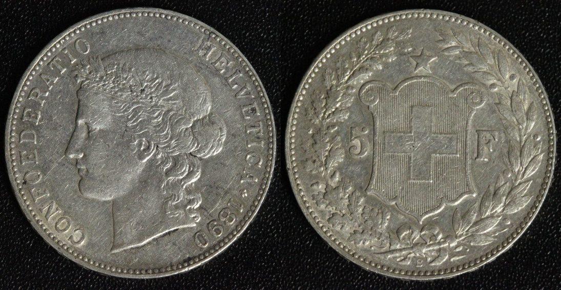 5 Franken 1890 B Schweiz Confoederatio Helvetica ss