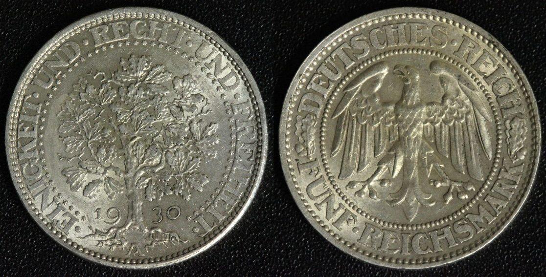5 Mark 1930 A Weimarer Republik Eichbaum vz+
