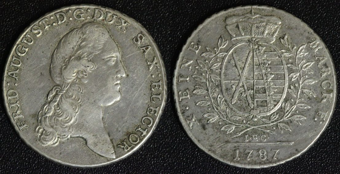 Taler 1787 I.E.C. Sachsen, Albertiner Friedrich August ss/l.just.