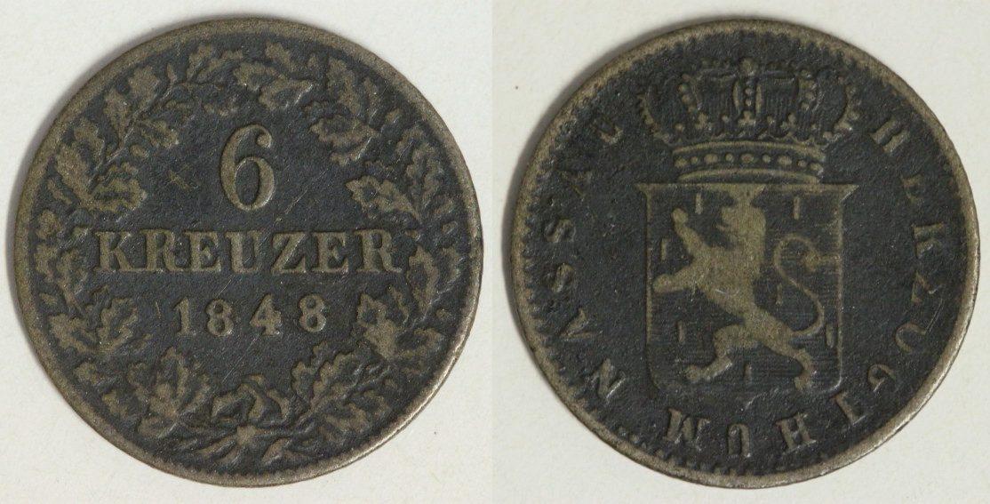 6 Kreuzer 1848 Nassau Adolph s-ss/Belag